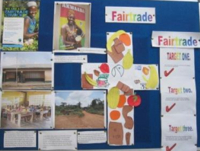 Fairtrade Noticeboard at Wyther parish, Leeds