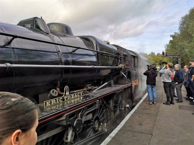 Steam engine named after train buff bishop gets a special blessing