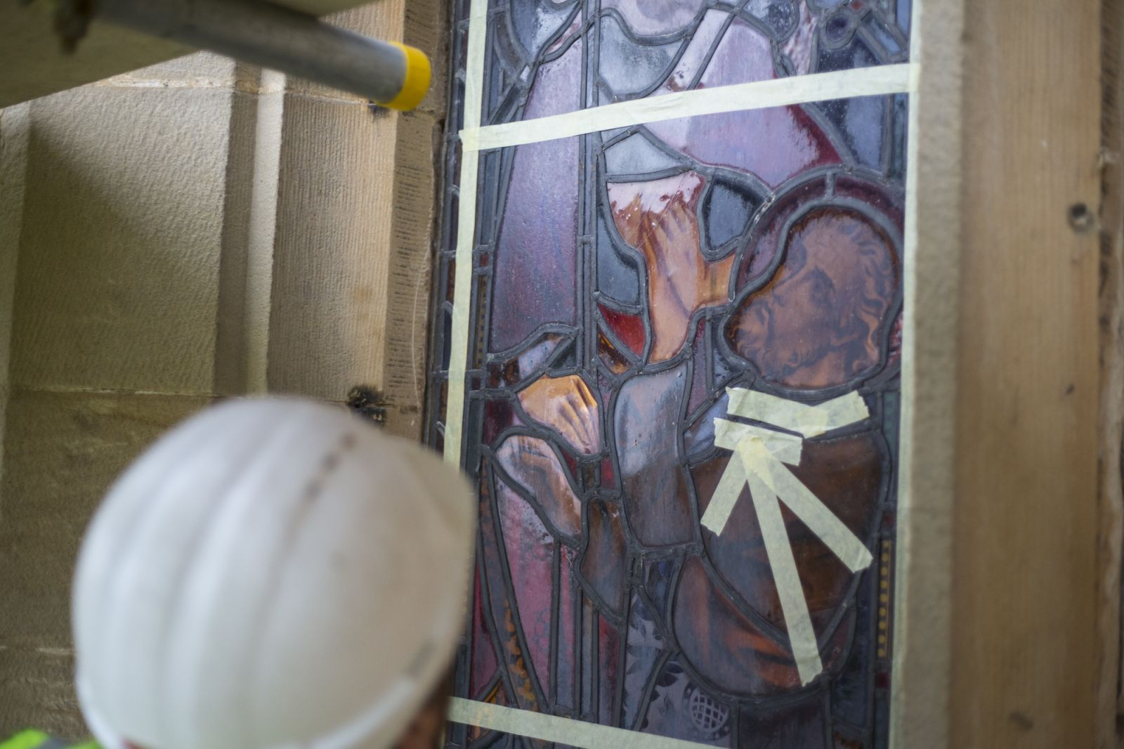 Stained glass conservators at work