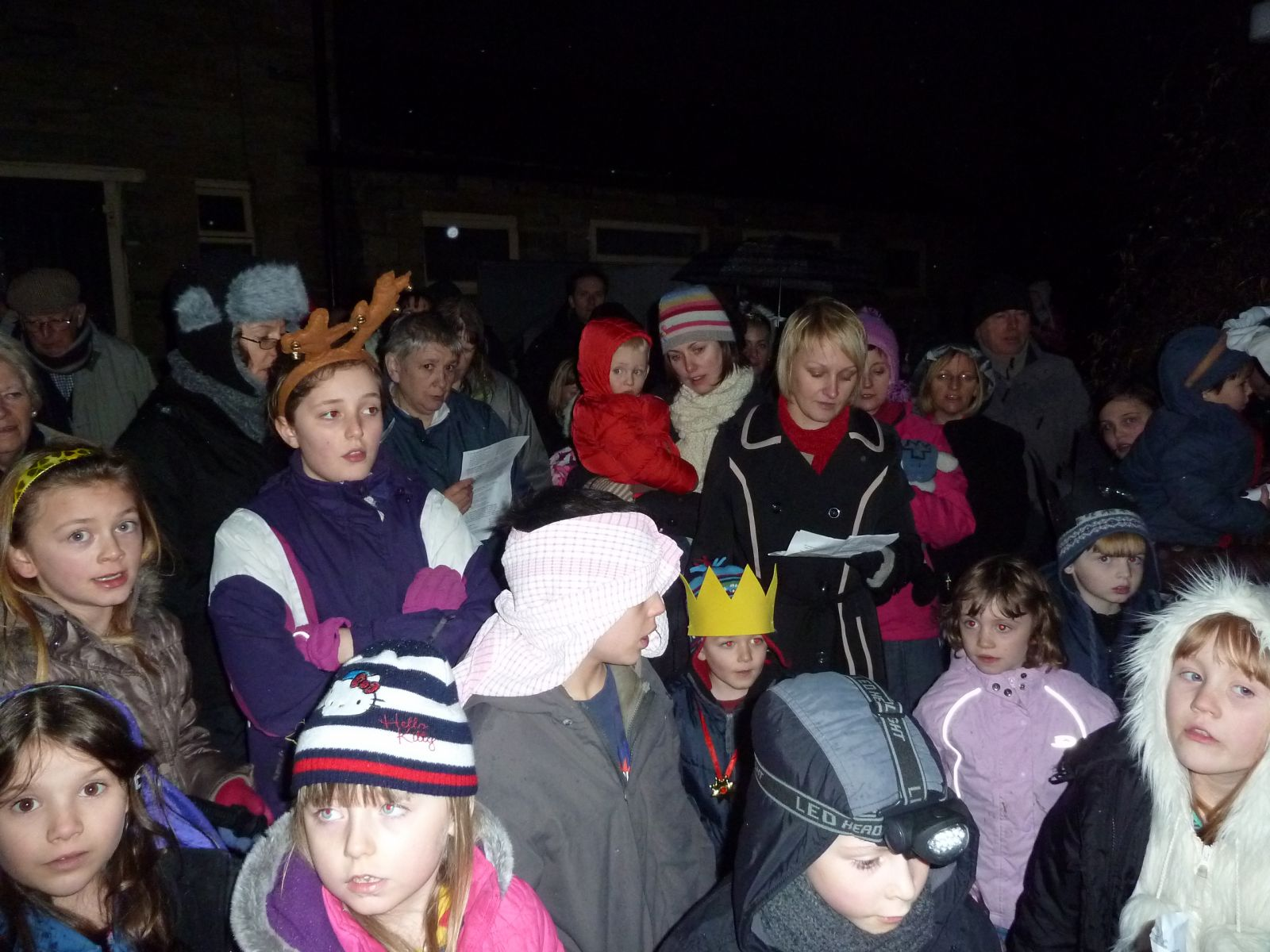 Everyone gathered for the outdoor nativity