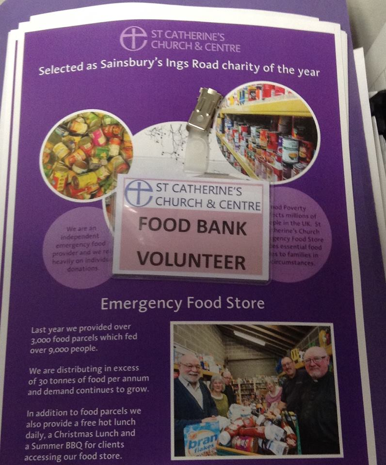 Food bank volunteer pass and St Catherine's food bank leaflets