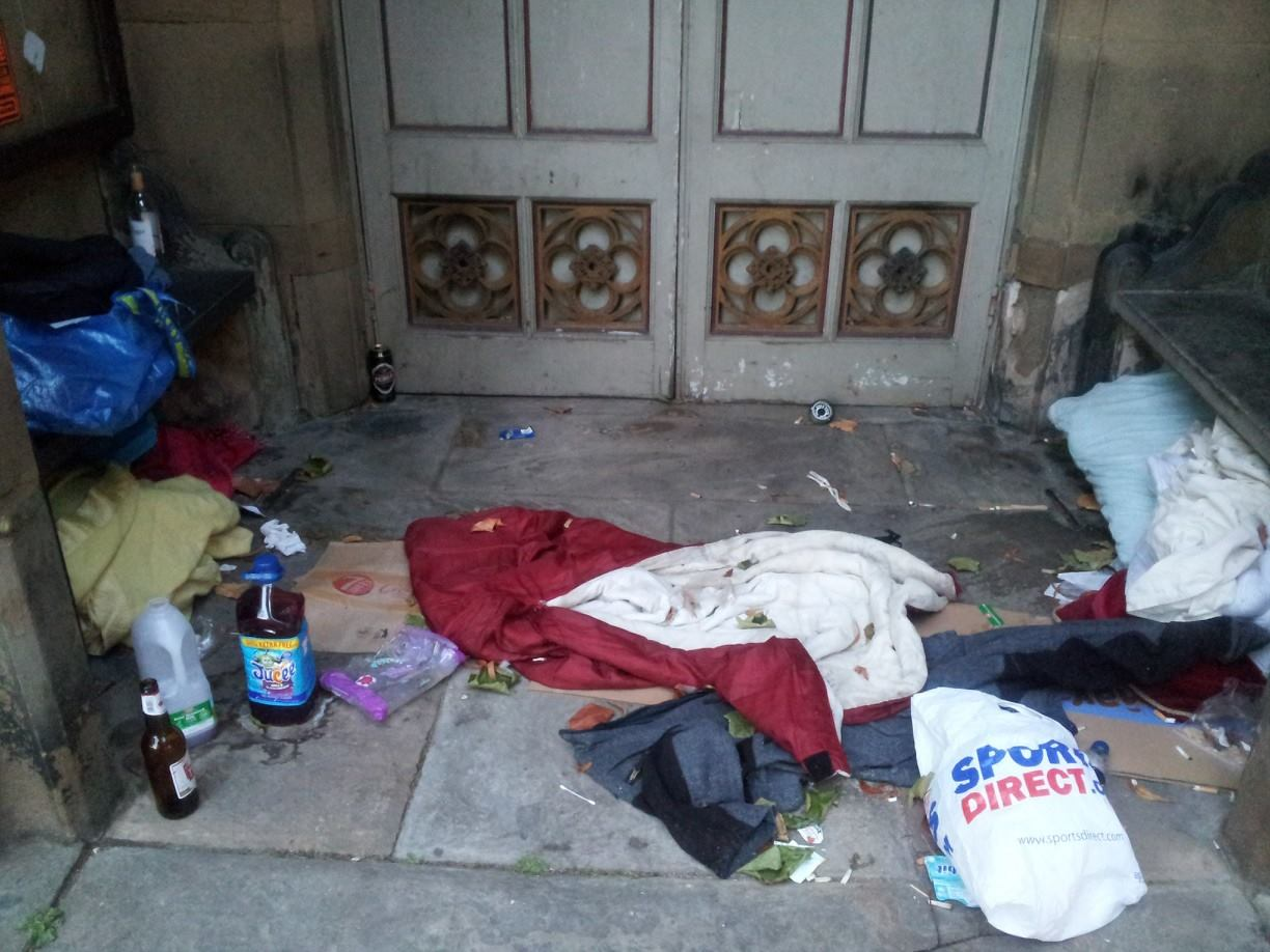 Belongings of the homeless left in St Mary's Church porch