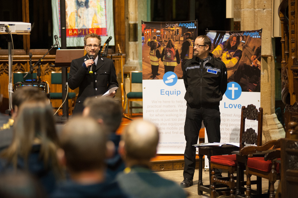 Representatives from Calderdale Police thank Street Angles volunteers at the celebration evening