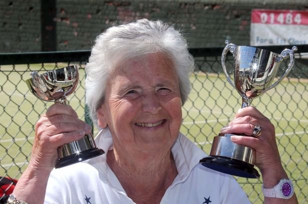 Mary Durrans with some of her tennis trophies
