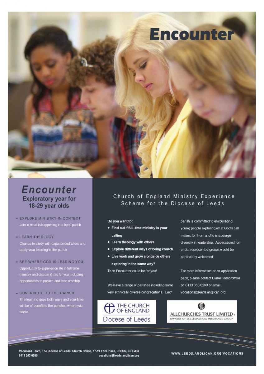 Encounter poster - an exploratory year for 18-29 year olds