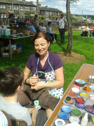 Face painting at The Big Picnic in Lindley, Huddersfield