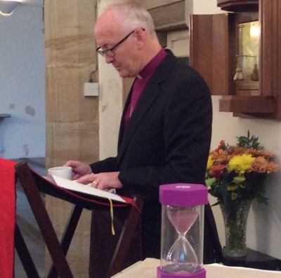 Bishop Nick taking part in the Bible marathon