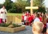 Bishop Tony blesses the new outside worship and quiet area for schoolchildren in Barnsley