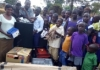 Kitagasembe choir receiving their AV equipment