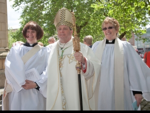 Sarah Farrimond, Bishop Tony with Revd Mary Railton-Crowder