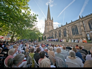Listening to Bishop Nick outside Wakefield Cathedral