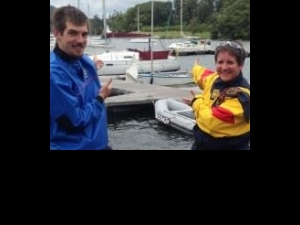 Assistant organist, Simon Earl and Canon Precentor, Andi Hofbauer prepare to sail round Windermere to raise funds for Wakefield Cathedral's redevelopment plans