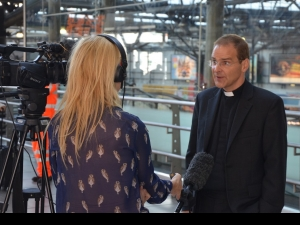 Toby Howarth interviewed by press at Leeds station