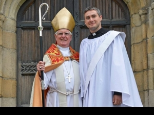 Bishop Tom and Steve Proudlove outside Bradford Cathedral