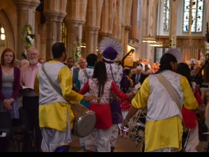 The band accompany Bishop Nick into the Cathedral