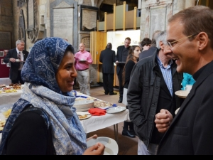 Toby talking with Wahida Shaffi of the Bradford Council for Dialogue and Diversity