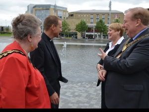 Toby with the Lord Mayor, Lady Mayoress and Suzan Hemingway representing the Chief executive of Bradford Metropolitan District Council