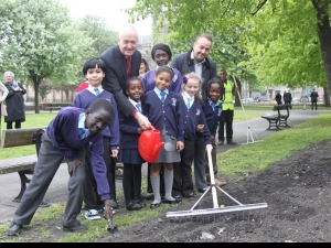 Planting in Penny Pocket Park in Leeds with new bishop, Nick Baines