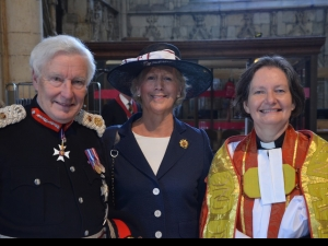 The Lord-Lieutenant of North Yorkshire, Lord Crathorne, Lord-Lieutenant of West Yorkshire, Ingrid Roscoe, and the Dean of York