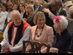 At the start of the service, Bishop Nick Baines and his wife Linda with guests