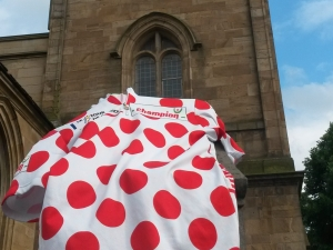 Giant polka dot jersey on Dewsbury Minster Tower for the 'King of the Mountains' - the best climber in the race