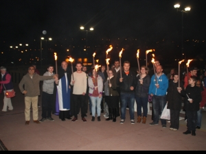 The congregations join in a torch light procession from Halifax Minster back to The Gathering Place where worship continued including the baptism of five new Christians.