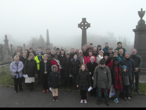 The Easter Dawn celebration in Undercliffe Cemetery where Christians shout to the city of Bradford - Christ is risen!