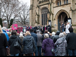 Wakefield's Good Friday Walk of Witness concludes on the steps of the cathedral