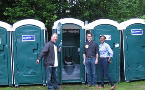 The Team Rector and two Team Vicars inspect the toilets installed in the car park at St John's Moor Allerton