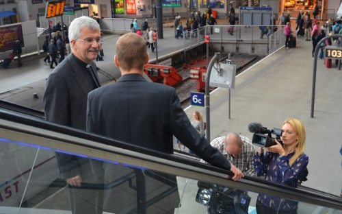 The two new bishops prepare to catch separate trains to Huddersfield and Bradford