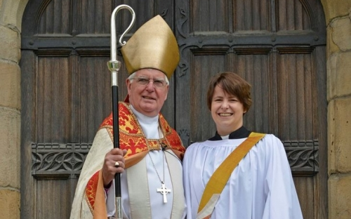 Bishop Tom and Cat Thatcher outside Bradford Cathedral