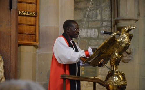 The scriptures are read by Bishop Ismael Gibreil Abugigin of El-Obeid in the Sudan