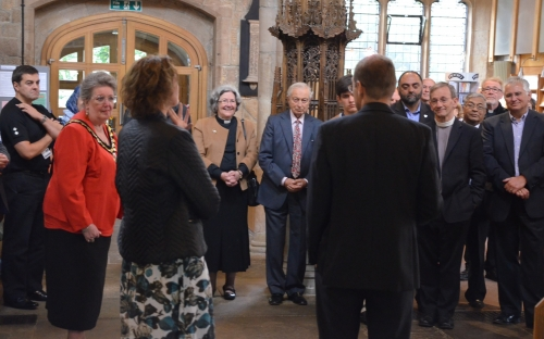 Henriette and Toby talking to guests at Bradford Cathedral