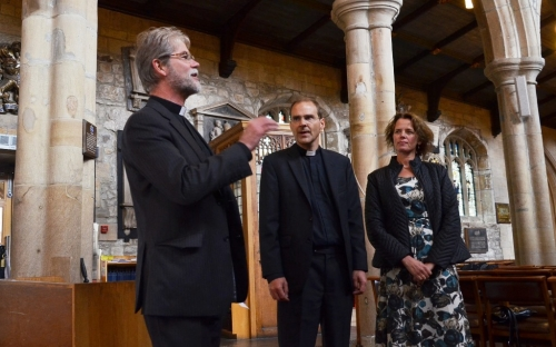 Jerry introduces Toby and Henriette at Bradford Cathedral