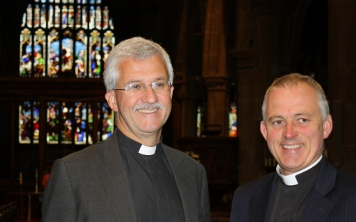 Jonathan with the Vicar of Halifax Minster, Hilary Barber