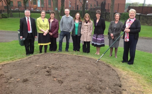 Poppy planting at the Diocesan Office in Leeds