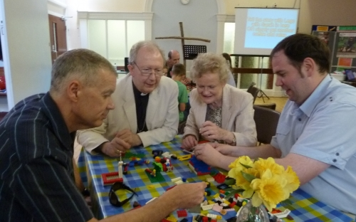 Bishop James at Cafe Church and the story of Jonah in Lego