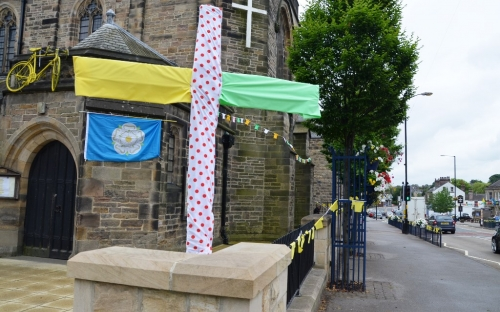 Starbeck on Stage Two has erected a Tour de France cross