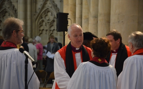 Bishop Nick being welcomed by colleagues