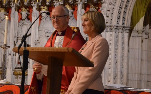 Bishop Nick and Linda are welcomed by the congregation