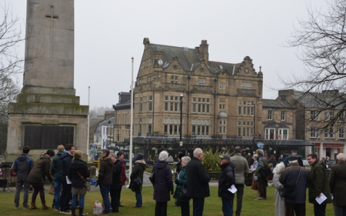 Crowds gather in the centre of Harrogate to mark Good Friday.