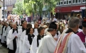 Clergy processing through the streets of Wakefield to the service