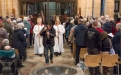 Carrying the cross through the Good Friday service, Wakefield Cathedral
